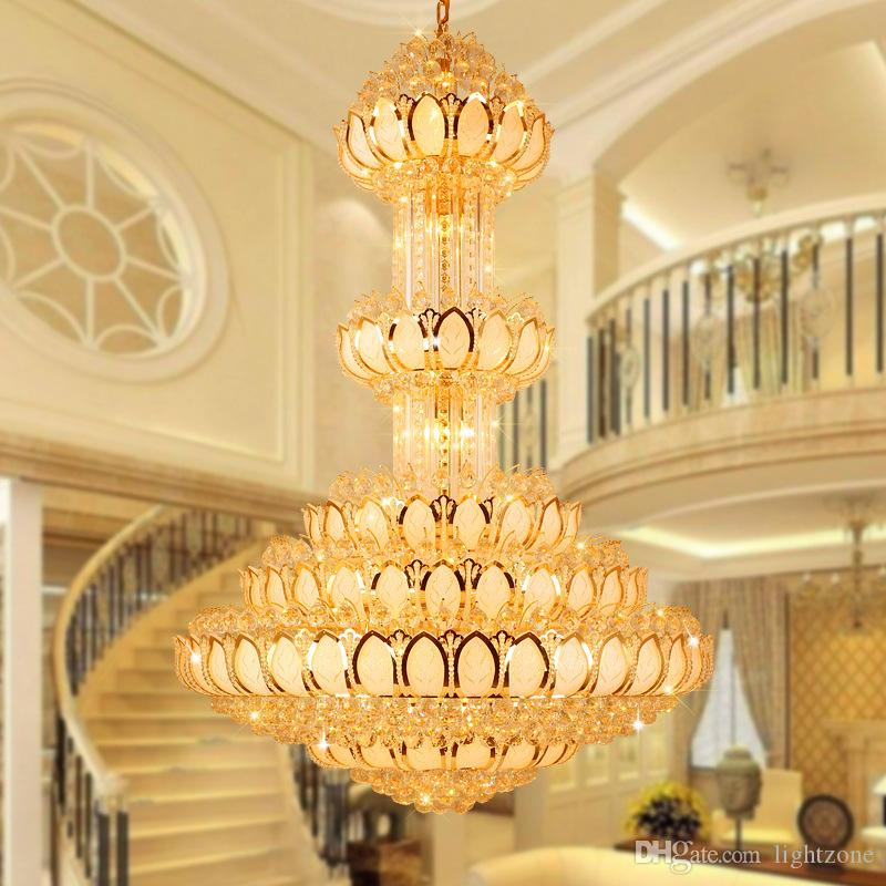 Crystal Pendant Chandeliers Lamp Round Villa Luxury High End Lamps Large European Style Lobby Hotel Project Construction Light Farmhouse Chandelier