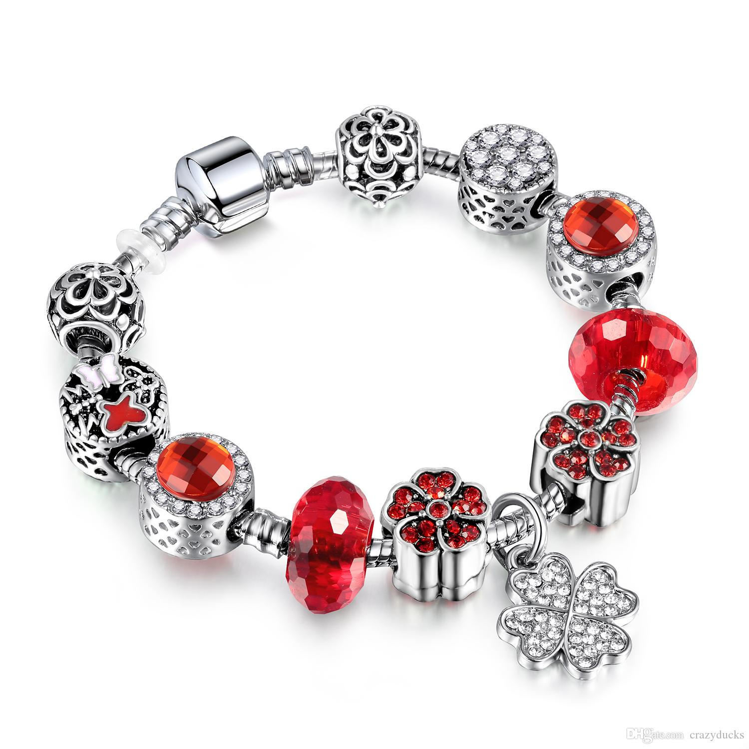 European Silver Bracelet Silver Plated Bead With Red Glass Beads & White Clover Charm Bracelet Women Jewelry AA113