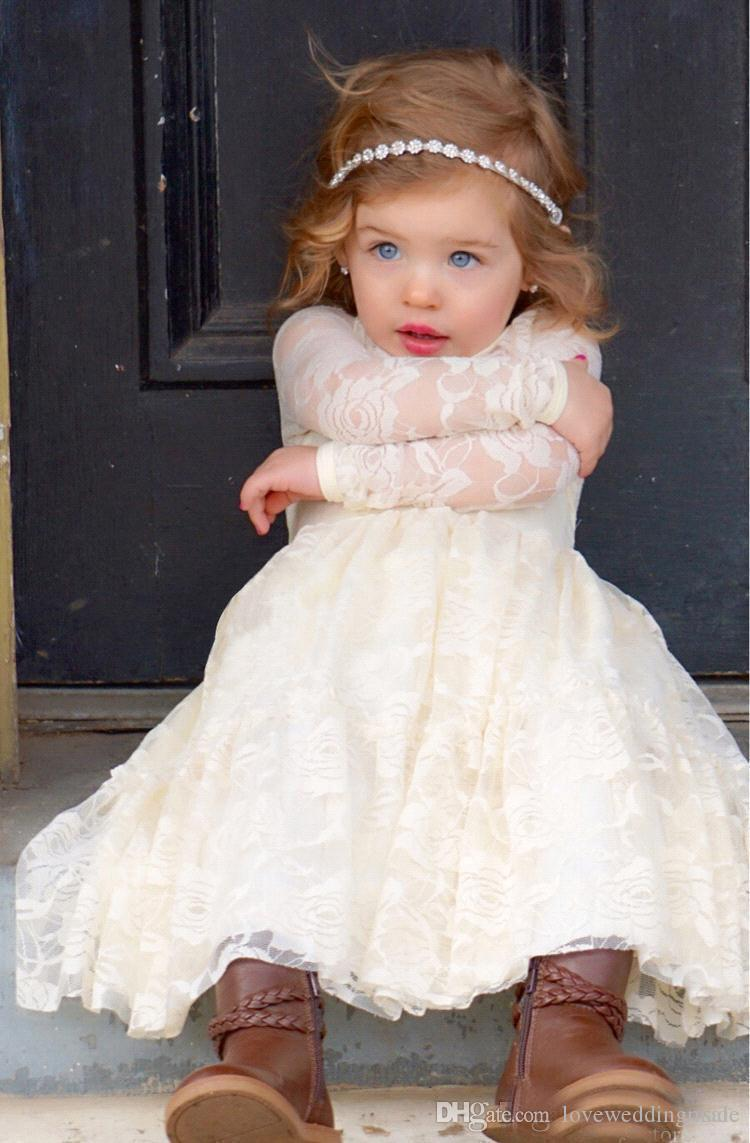 2017 Baby Kids First Communion Dresses Full Lace Jewel Neck Long Sleeves Ankle Length Princess Flower Girls Dress China