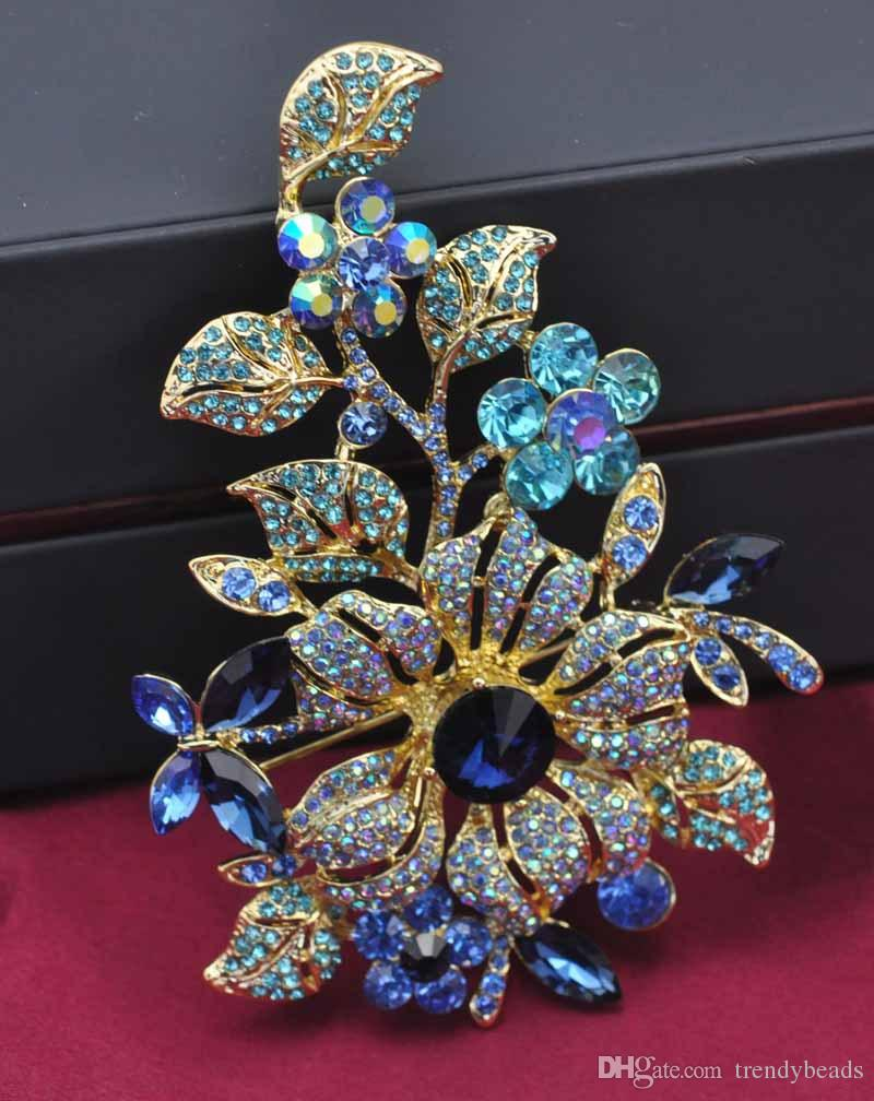 123x80mm Huge Flower Brooch Hot Selling Trendy Luxury Large Crystal Bridal Broach Graceful lady Costume Corsage Top Quality