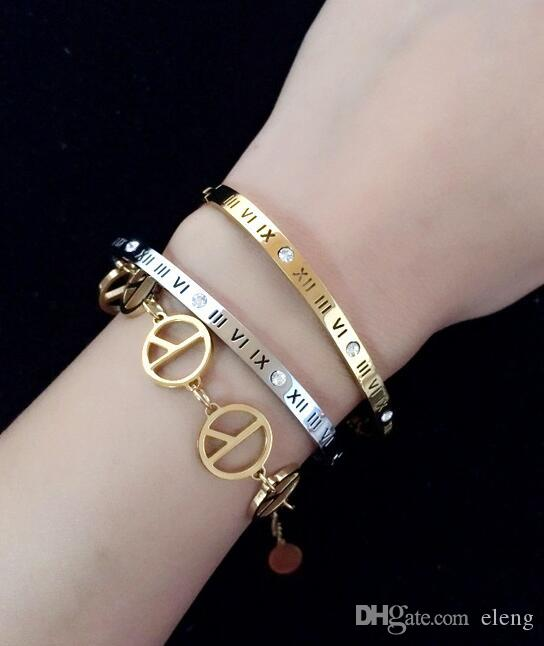 Titanium steel Couples white crystal Nail Screw bracelets & bangles For Fashion Women men Love Jewelry NK57