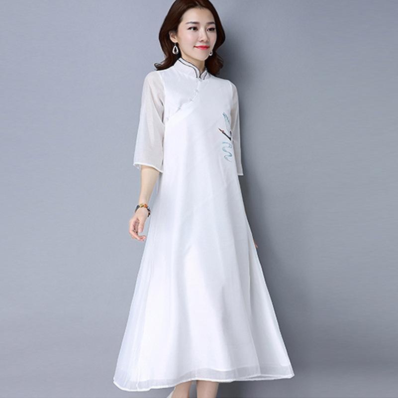 Großhandel Vintage Chinesischen Stil Kleid Lange Lila Chinesischen ...