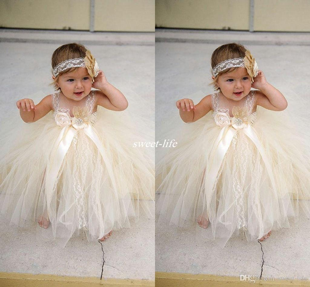 Champgne Beaded Lace Toddler Baby Flower Girls Dresses 2017