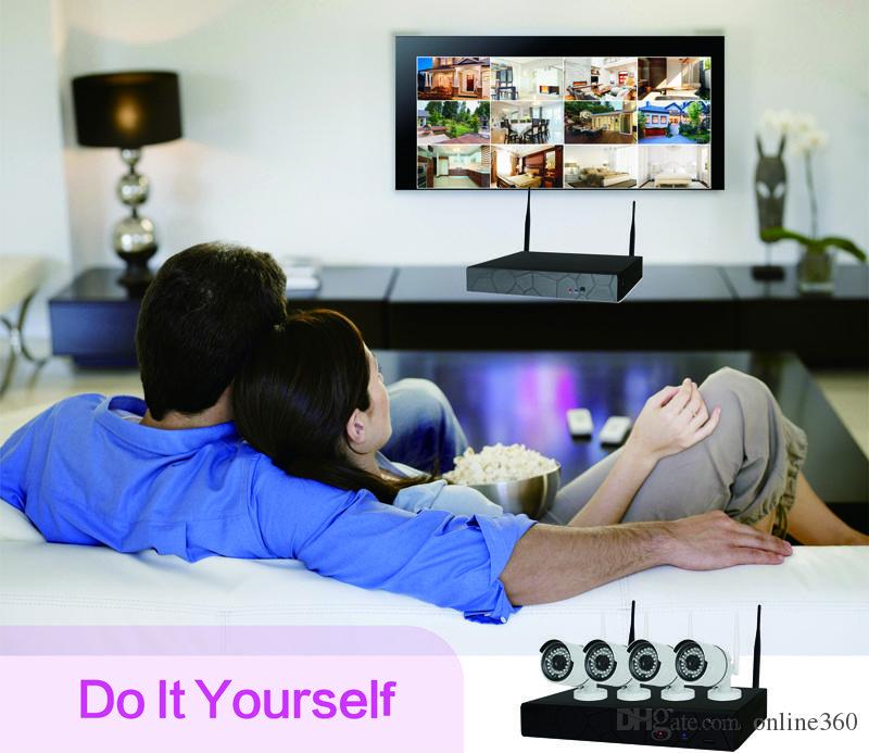 4-канальная система видеонаблюдения Беспроводная 720P NVR 1.0MP ИК Открытый P2P Wi-Fi IP-камера видеонаблюдения Система видеонаблюдения Kit