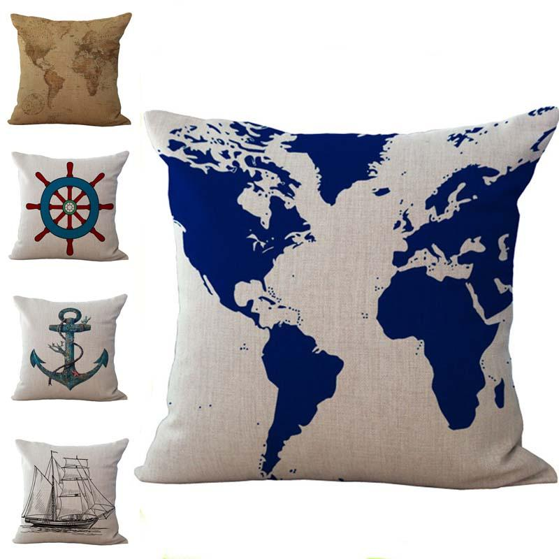Sailing World Map Boat Anchor Rudder Pillow Cases Cushion Cover Case