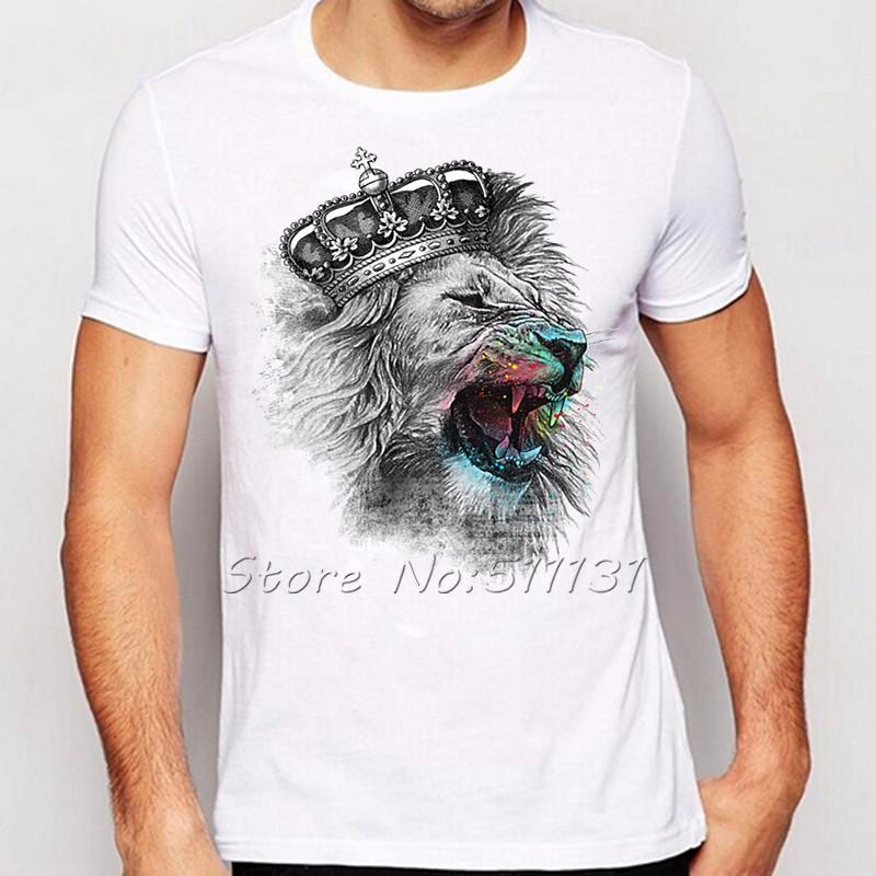2017 Newest Fashion Cool Crown Lion Printed T Shirt Summer Trendy ...