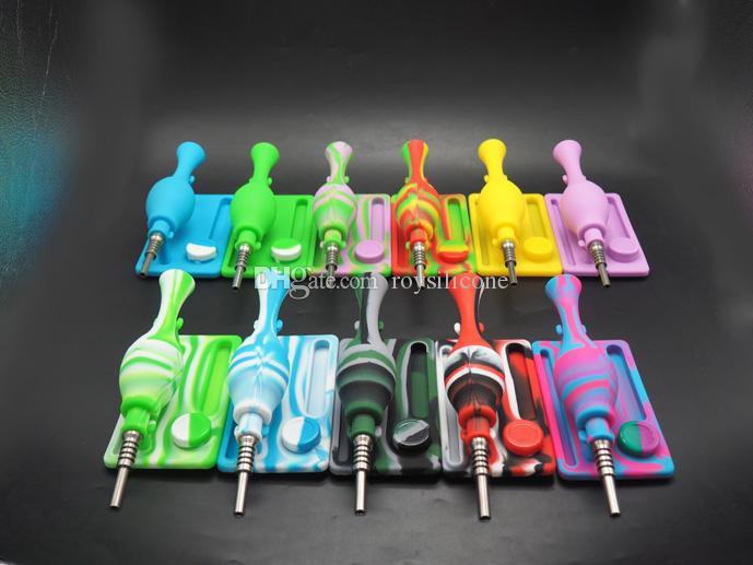 Os mais vendidos! Cor portátil narguilé, tubo de fumaça de silicone, vasos de titânio de metal, bongos de silicone, inquebrável filtro de narguilé