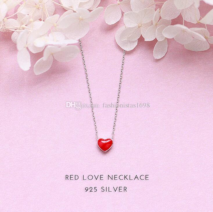 f21f67f13f7be New handmade hearts necklace hearts with red glaze fresh peach heart  necklace S925 sterling silver short Collarbone chain necklace