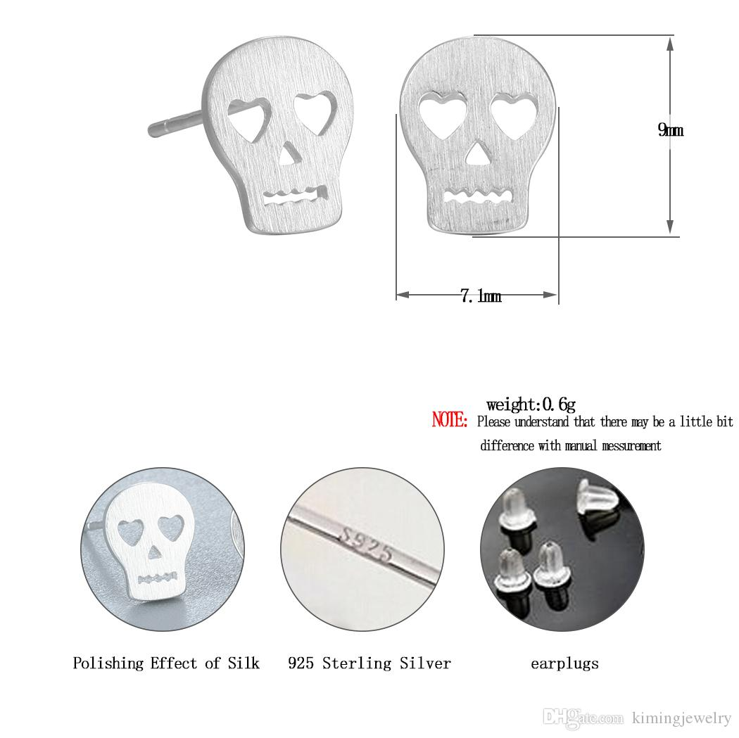925 Sterling Silver Punk Skull Face Stud Earrings for Women New Girls Christmas Gift Statement Jewelry Pendientes Plata