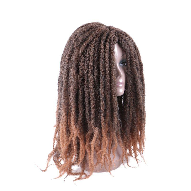 Synthetic Wigs Marley Braids Afro Kinky Curly Wig 18inch Ombre Brown African American Style Cosplay wigs