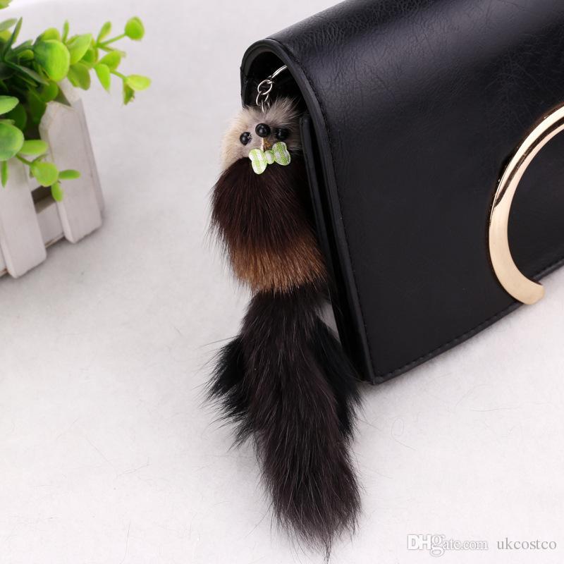 "Women Christmas Gift Keychains 3D Mouse Squirrel Pom Pom Car Keychain Handbag Key Ring 7.87""*1.97""C97Q"