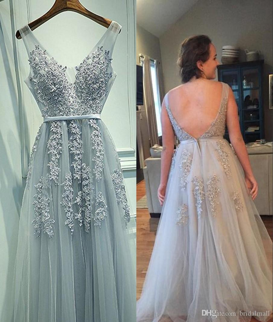 Sexy Deep V Neck Silver Grey Prom Dresses 2017 New Appliqued Open ...
