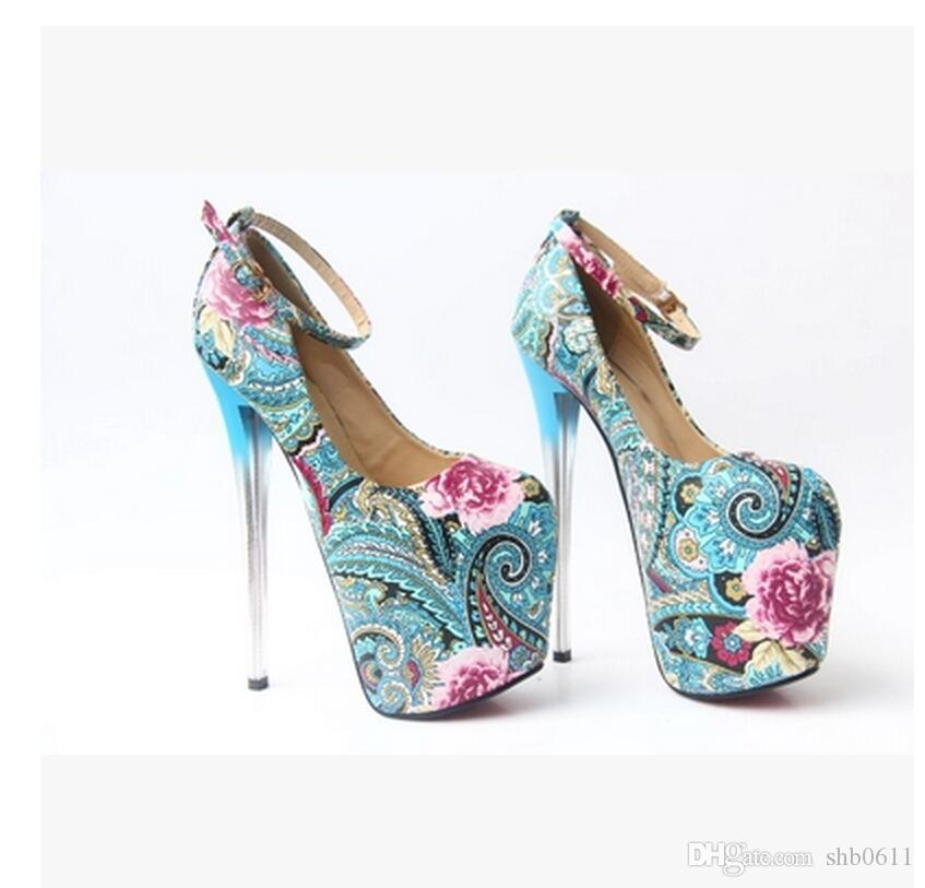 free shipping!women high heels dress shoes party fashion girls sexy Round head shoes buckle platform women pumps wedding shoes blue red col under $60 cheap sale nicekicks fashion Style cheap online LJQJd