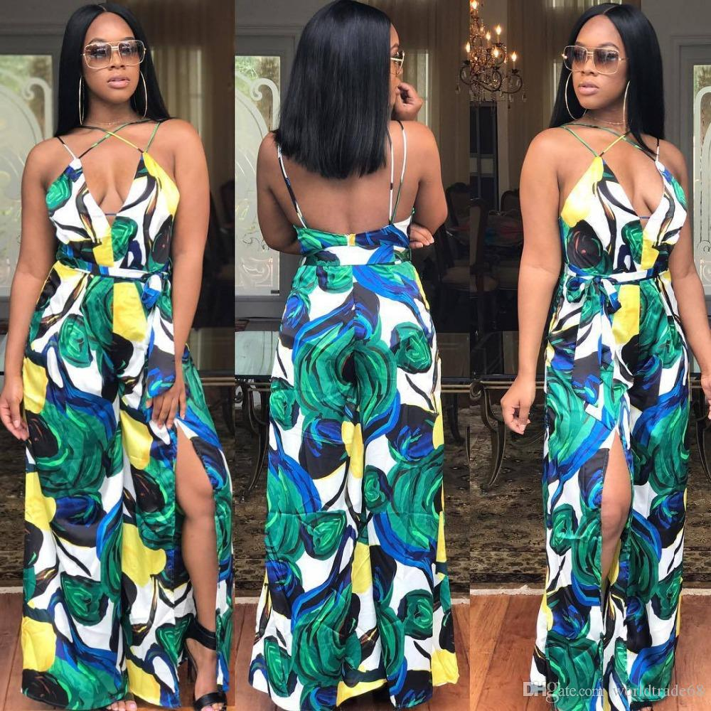 Fashion Women Sexy Party Print Jumpsuits Ladies\' Night Club Casual ...