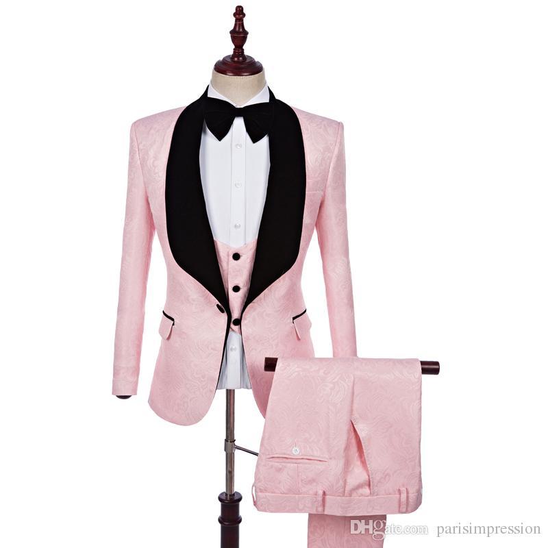 timeless design 71422 21b28 Acheter 2018 Nouvelle Vente Chaude Marque Rose Hommes Floral Blazer Designs  Blazer Slim Fit Costume Veste Gilet Pantalon Hommes De Mariage Tuxedos Mode  ...