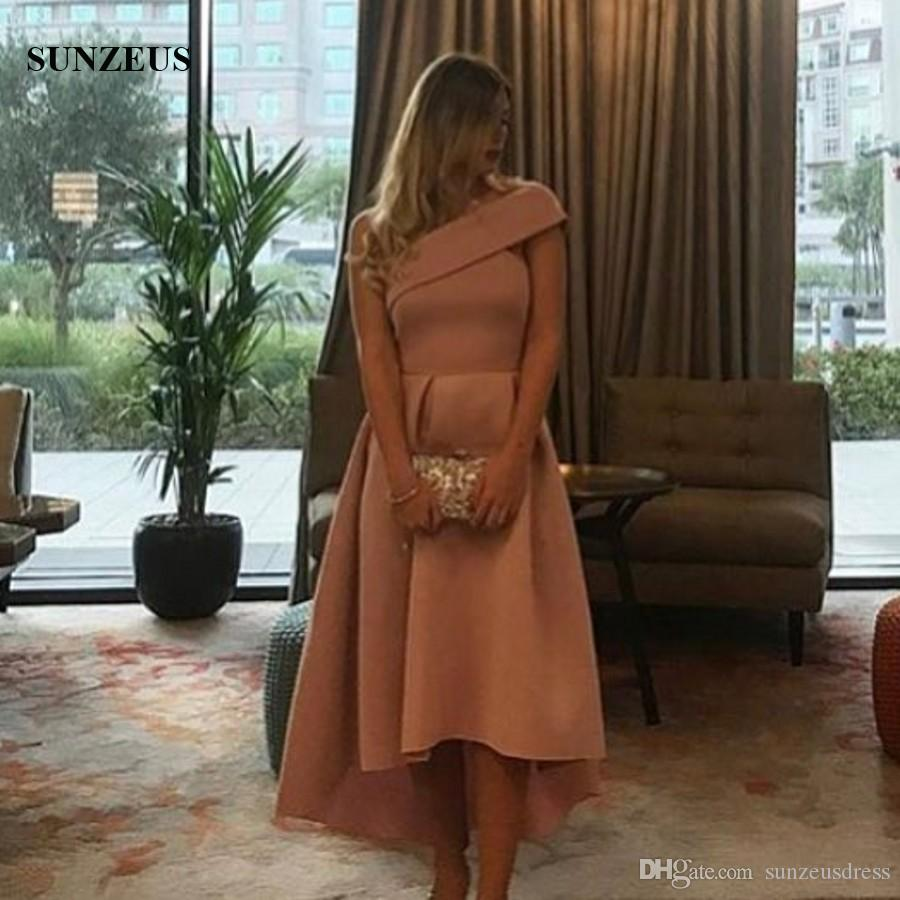 One shoulder High Low Party Dress Short Front Long Back Prom Gowns Elegant Simple Girls Formal Wear For Party
