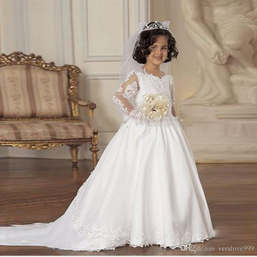 Lovely Fashionable White Lace Applique Long Sleeve Flower Girls Dresses A-line First Communion Dresses Kids Frock Designs Formal Wear