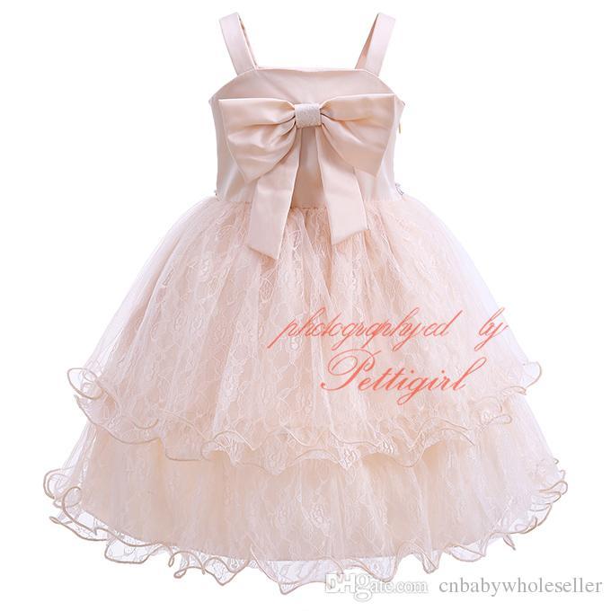 Pettigirl 2017New Kız Parti Elbise Sling Şampanya Çiçek Nakış Wirh Yay Boncuklu Katmanlı Tül Çocuk Düğün Kayma Giyim GD81207-25L