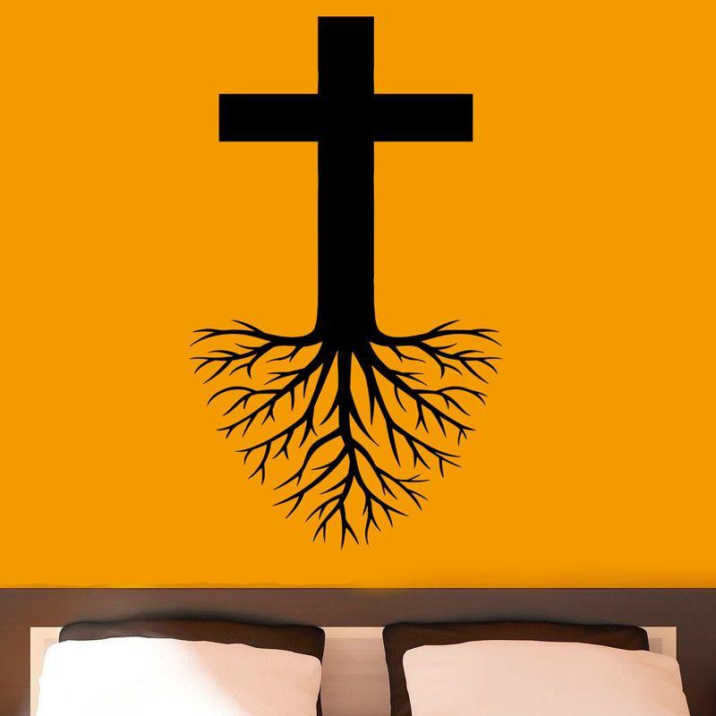 Jesus Wall Art cross with roots wall art sticker religion jesus christ wall