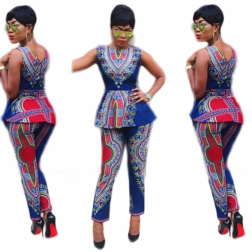 ... Imprimir Conjuntos de Vestidos Para As Mulheres Dashiki Tradicional  Africano Two Piece Set Africaine Impressão Bazin Africano Tops + Calças  Roupas 811a777e569
