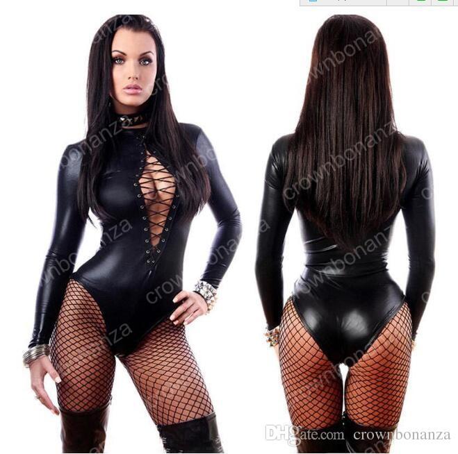 Frauen Jumpsuit Schwarz Sexy Leder Kleider Langarm Bodys Erotische Trikot Latex Catsuit Kostüm