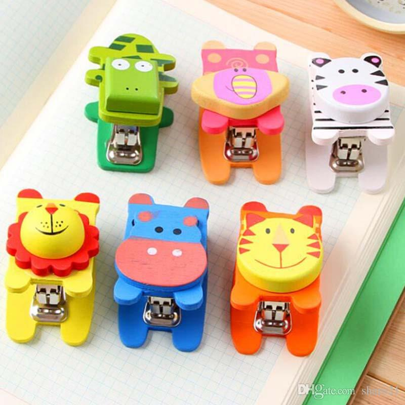 Wooden Cartoon Cute Mini Stapler Primary School Stationery Office Student Prize Birthday Gifts Hole Punch Supplies Online