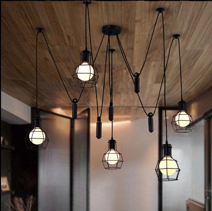 Discount Pendant Lights Lamp Lighting Industrial Vintage Lamp Tiny Cages Fixtures E27 Bulbs Loft ...
