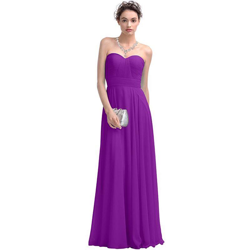 Cheap Bridesmaid Prom Dresses Long Evening Wear Chiffon Sweethear ...
