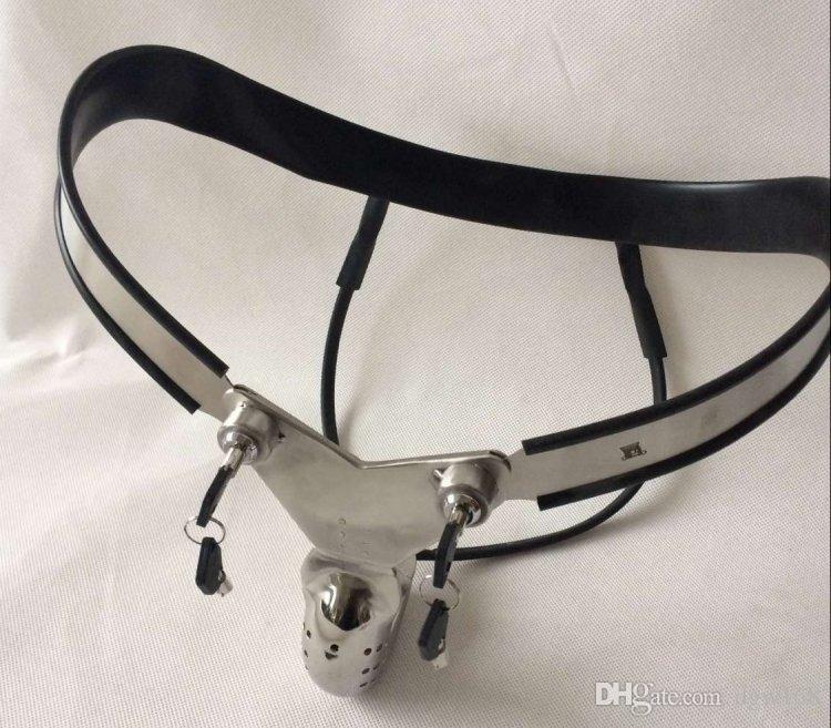 Y-förmiger Edelstahl männlicher Keuschheitskäfig einstellbare Kurve-Taille-Gürtelhose voll geschlossen Wickelhahn BDSM-Geräte Sexspielzeug für Mann