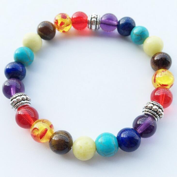 Neue Natürliche Schwarze Lava Stein Armbänder 7 Reiki Chakra Healing Balance Perlen Armband für Männer Frauen Stretch Yoga Schmuck Kostenloser Versand