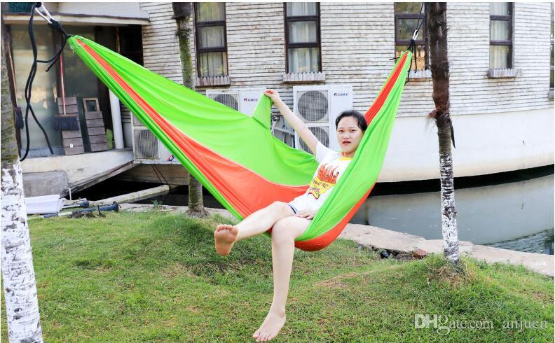 Outdoor one-man hammock 210T nylon fabric light and easy to accept camping dormitory leisure 230*90cm Used for outdoor leisure hammock parac