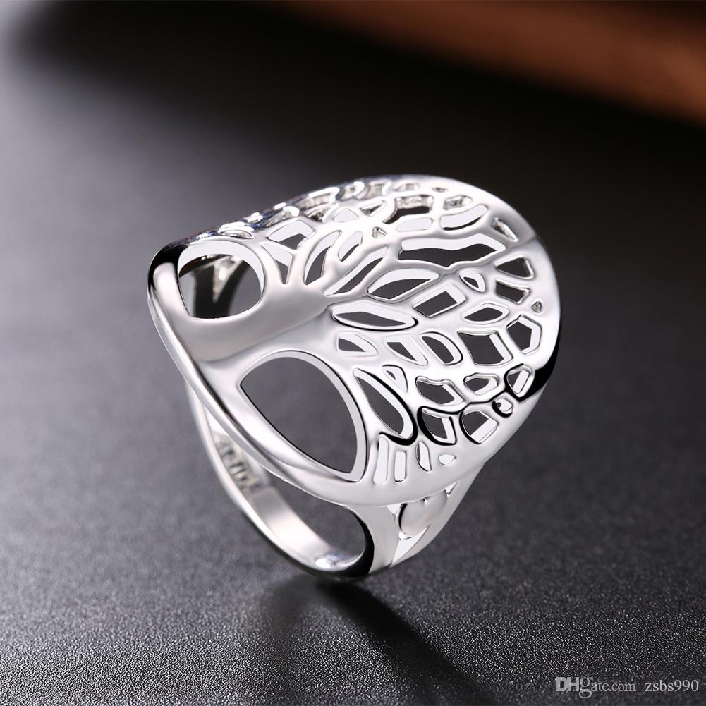 Fashion Design Hollow Tree Bague 925 Silver Fashion Bijoux Simple Charm Style Cool Cadeau Anniversaire Livraison Gratuite Hot