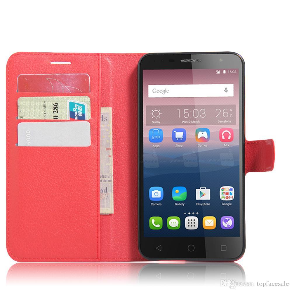 Diforate neue Ankunfts-Luxuxleder-Mappen-Telefon-Schlag-Abdeckungs-Beutel-Kasten für alcatel POP 4 Plus / POP 4+