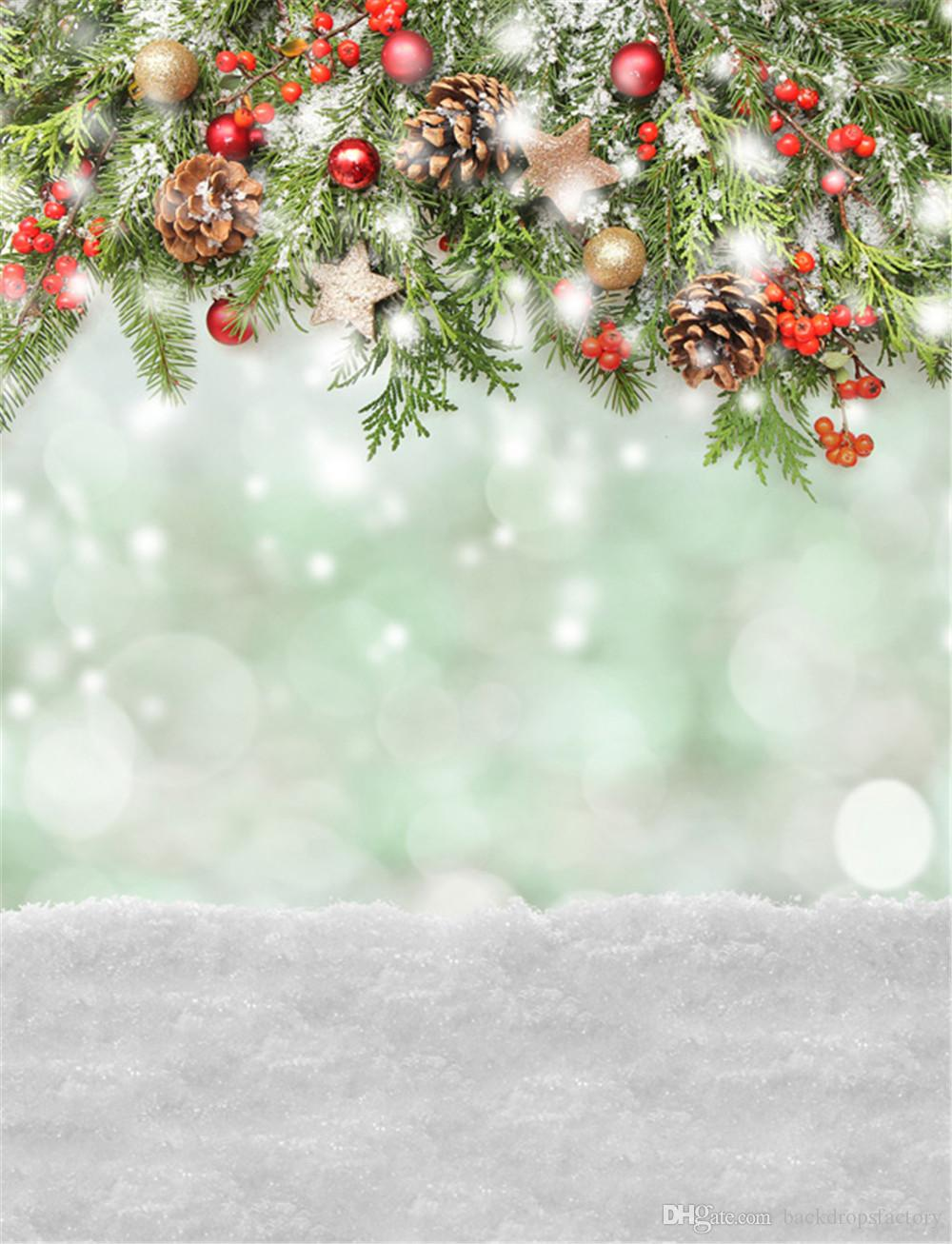 Christmas Background Vinyl Photography Backdrops Green Pine Tree Leaves Gold Red Balls Baby Newborn Kids Photo Shoot Backdrop Snow Floor From