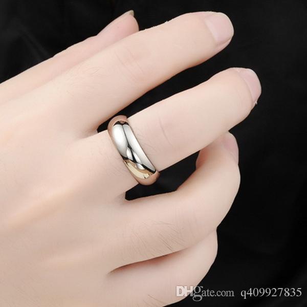belle fiançailles Mens 7mm argent titane anneaux de mariage en acier inoxydable à doigts haute doré poli 18k bande d'or blanc