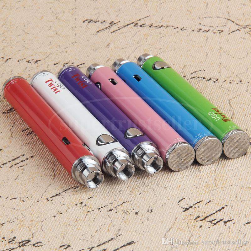 Evod Twist Vape Pen Batteria a tensione variabile 650mah 900mah UGO eGo C Twist Micro USB Passthrough 510 Filetto vaporizzatore Atomizzatore all'ingrosso