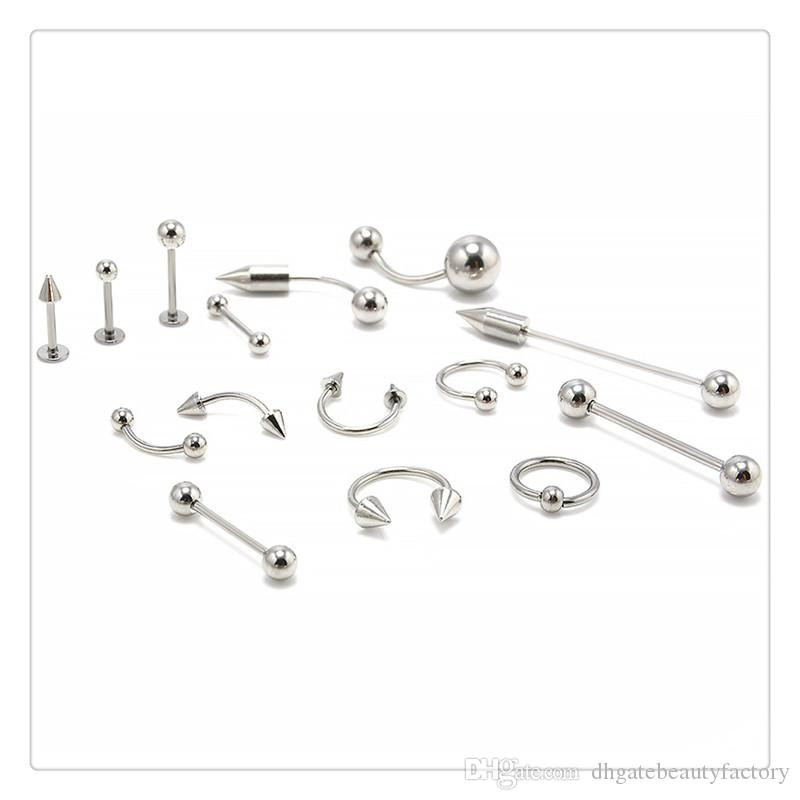 Fashion Jewelry Mix Silver Stainless Steel Nose Navel Belly Lip Nipple Eyebrow Ear Studs Bar Ring Ball Piercing Kit Body Jewelry DHL