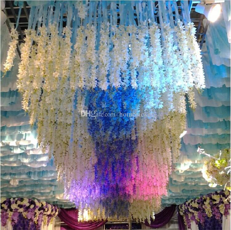 Elegant White Artificial Silk Decorative Flowers Garland Fake Hanging Orchids Plants Vine For Wedding Party Decoration Supplies 50pcs/lot