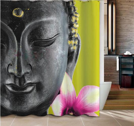 2019 Wholesale Hot Sales Buddha Shower Curtain For Bathroom