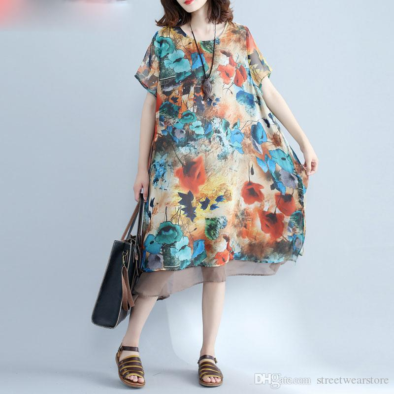 0307a12854fd Women Dress Plus Size Summer Beach Dresses Chiffon Floral Print Loose  Hawaiian Female Fashion Casual Midi Lady Dresses Sequin Dress Going Out  Dresses From ...