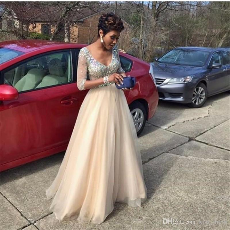 Bling Bling Champagne Prom Dresses 3/4 Long Sleeve Luxury Beaded Crystal Sequined V-Neck A-Line Tulle Formal Evening Gowns Custom Made P101