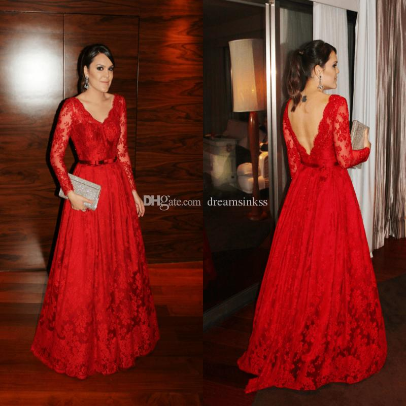 Cheap Lace Guest Dresses Long Sleeves Evening Gowns V-Neck Backless With Sash Beaded Prom Dresses Plus Size Dresses Free Necklace Set
