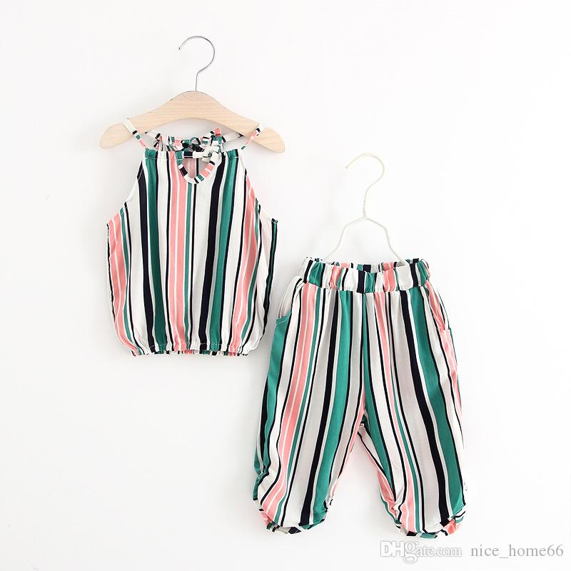 Summer Children Clothing Sets Baby Girl Striped Halter Tops+ Pants Sets Kids Outfits Children Summer Clothing Suits