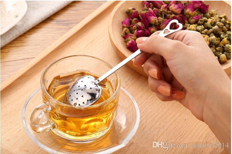 """2017 Hot Spring """"Tea Time"""" Convenience Heart Tea Infuser Heart-Shaped Stainless Herbal Tea Infuser Spoon Filter DHL FEDEX"""