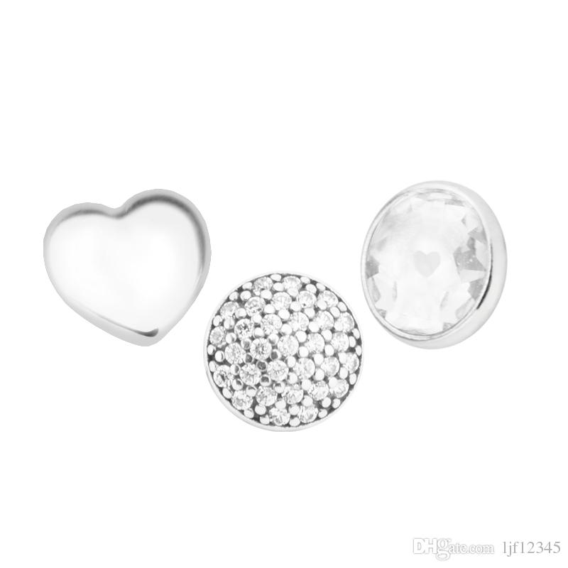April Petites Rock Crystal & Clear CZ Charm for Locket necklace Charms Fits Pandora Bracelet sterling silver jewelry making charms