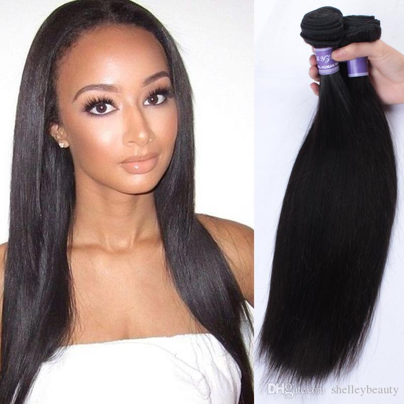 Silk Straight Malaysian Weft Hair Extensions 3 Bundle Deals Sew In