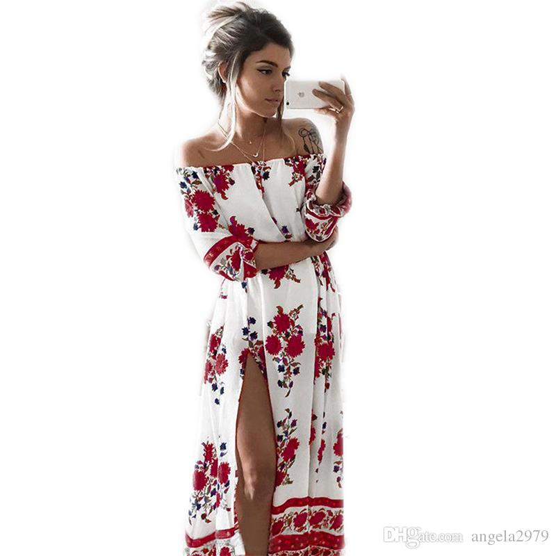 5c195183a47 New Summer Women S Vintage Dress Floral Print Off Shoulder Split Tube Long  Party Maxi Dress Beach Dresses Plus Size Chiffon Long Dress XXL Coctail  Dresses ...