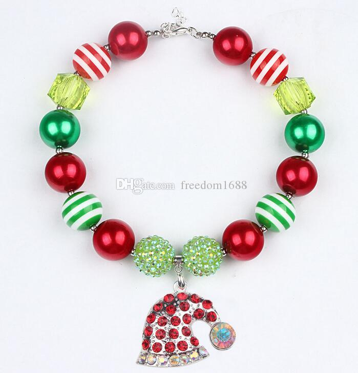 Fashion INS Xmas Girls Chunky Necklaces Bubblegum Necklace Kids Bead Necklace DIY Gumball Beads Children Jewelry Accessories for Party Gifts