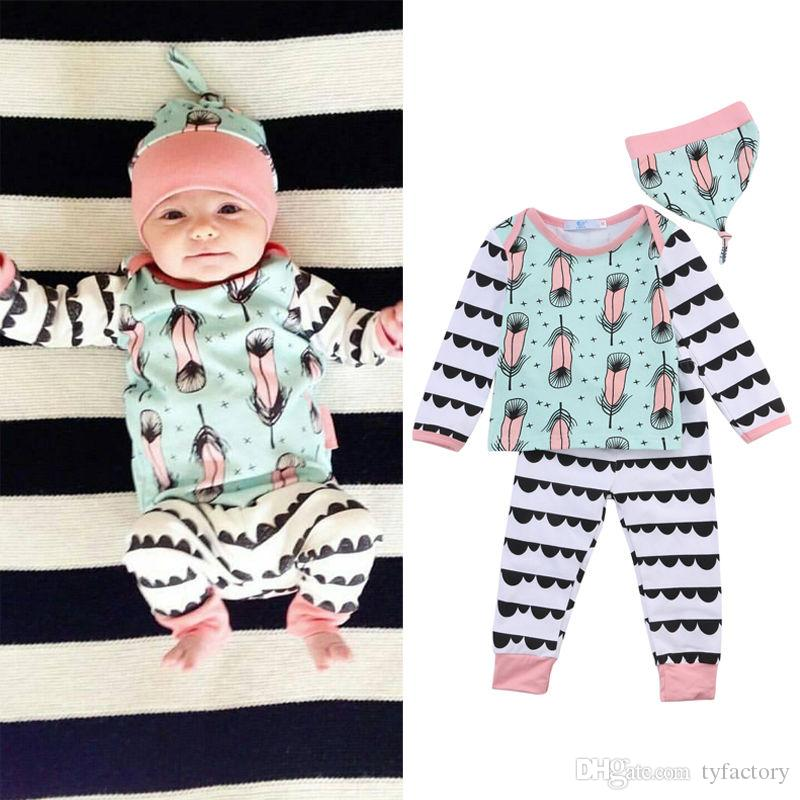 80dd3abd0 2017 Newborn Baby Girl Boy Clothes Long Sleeve Tops T-shirt+Pants+ ...