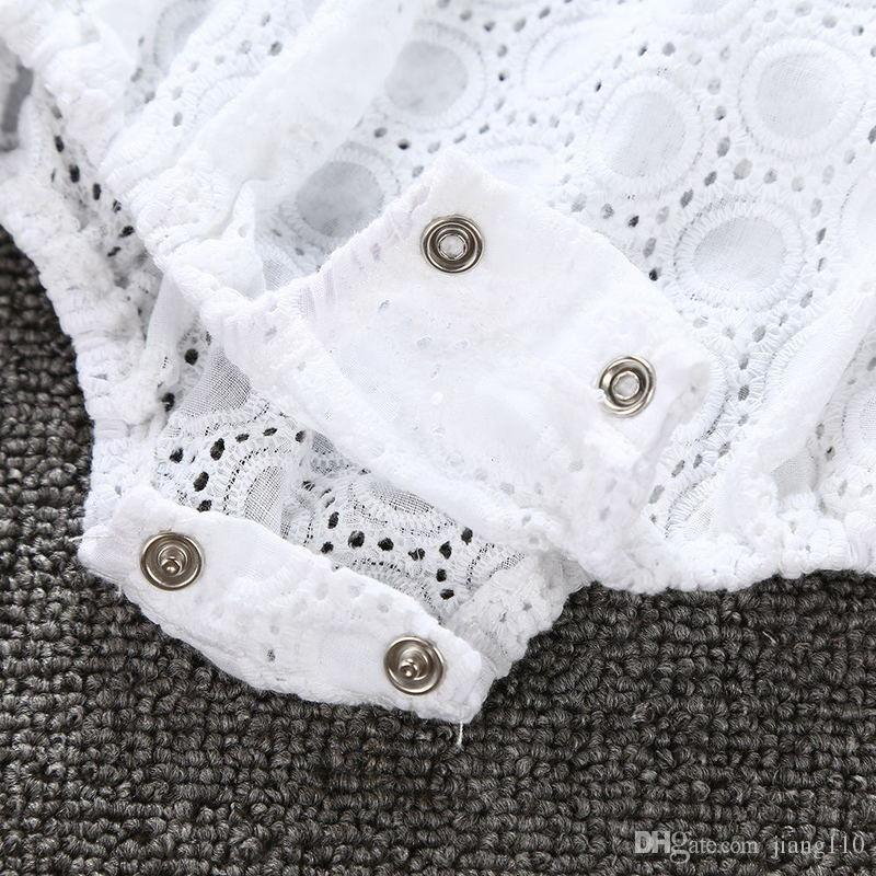 !2017 New summer infant baby girls embroidery romper jumpsuits clothing set white fashion cotton romper diaper bodysuit